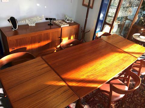 Danish Dyrlund Teak Table w/ 6 chairs Vintage
