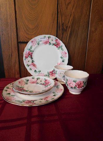 144 White Pink Floral Dish Set