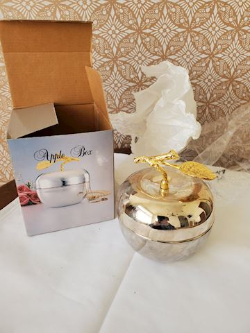 Silver plate apple shaped trinket box