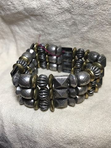 Stretch gunmetal color bead bracelet