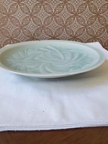Light blue abstract leaf pattern serving platter