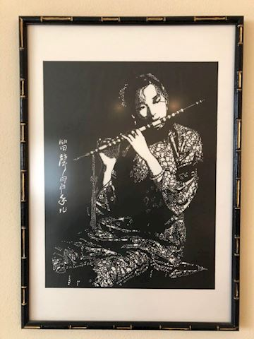 Asian black and white print - flute player