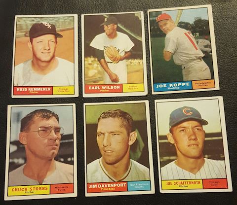 Estate Collection of 6 Vintage 1961 Baseball Cards