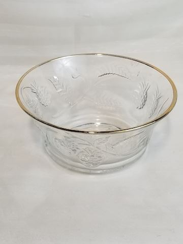 Clear glass gold rim jam jelly bowl dish