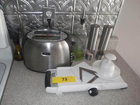 Lot #73 - Oster Toaster, Mandolin Slicer, & More