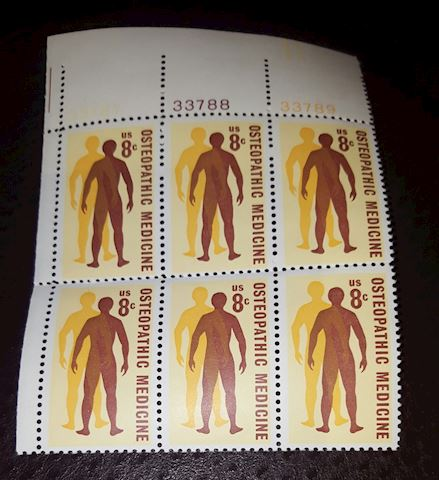 1972 Plate Block of 6 Osteopathic Medicine 8 Cent