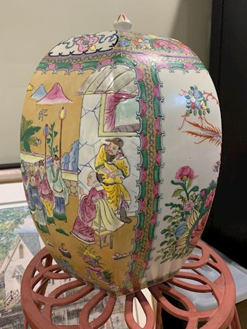 Asian Inspired Decorative Urn with Lid
