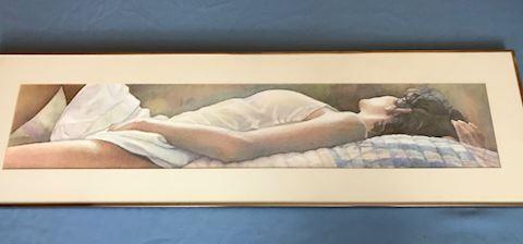 long print of reclining woman, 36x10
