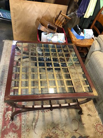 Metal and glass square coffee table