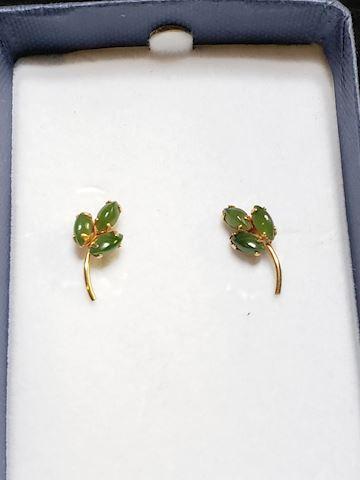 Jade earrings set in 14k gold