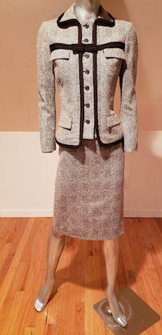 Les Copains brown tweed plaid wool silk skirt suit