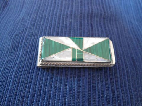 Malachite and Mother of Pearl Money Clip