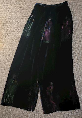 CITRON SANTA MONICA BLACK BURNT SILK PANTS SMALL