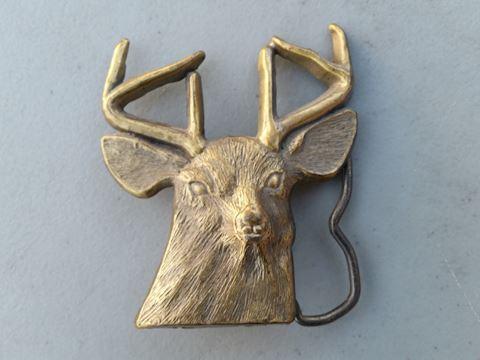 deer or stag brass belt buckle vintage 70s 80s