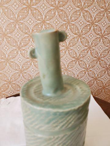 Handmade sage abstract pottery vase