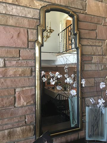 Vintage Brass & Ebony Stylized Etched Tall Mirror