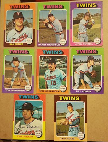 8 Vintage 1975 Minnesota Twins Baseball Cards