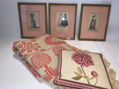 Lot 0055 19th c Fashion house engraving& Folk art