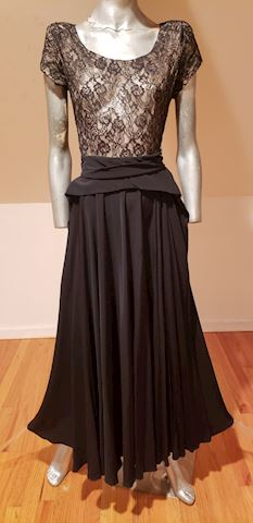 1930's Ballroom Lace & Crepe dress full skirt