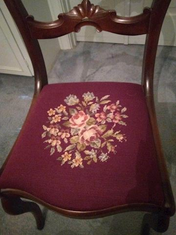"""MB  308  """"Open Back Chair"""" Needle point"""