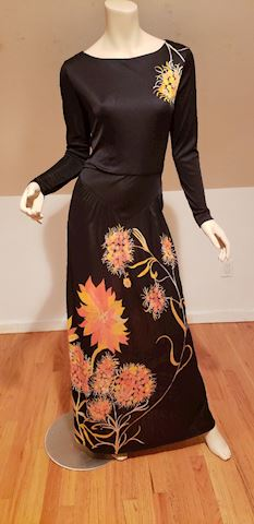 Vtg 70's Frankie Welch BohChic Bohemian Maxi dress