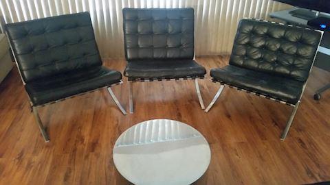 Set of 3 Mies van der Rohe Barcelona Chairs
