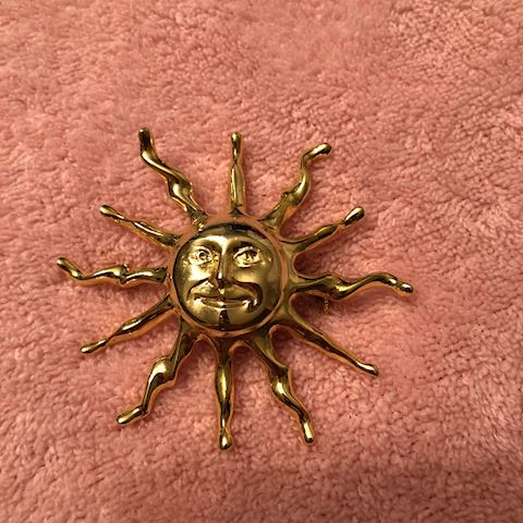 Sun with Face Brooch gold toned
