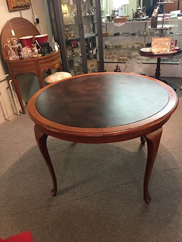 Round Leather Game Table