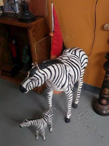 Mid-Century Leather Mama & Baby Zebra