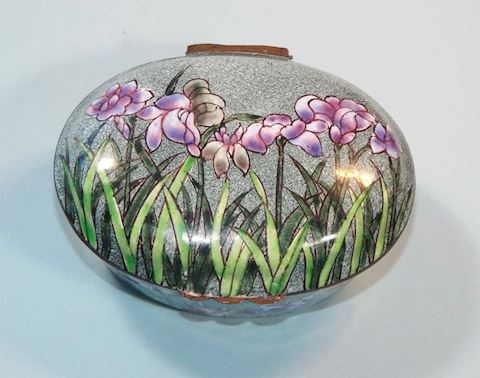 Enamel Chinemel Trinket Box w/ Iris, B. Yee