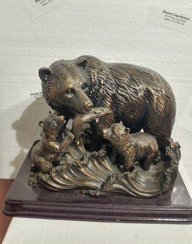 Bronze Bear Feeding Cubs Vintage Art