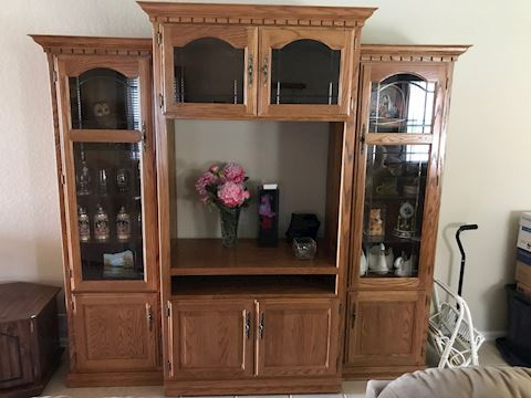 3 piece entertainment  cabinet with shelves