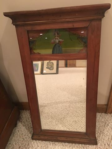 Antique wall mirror with painted scene