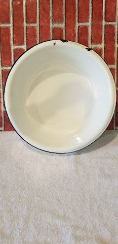 Vintage white and black enamel wash basin