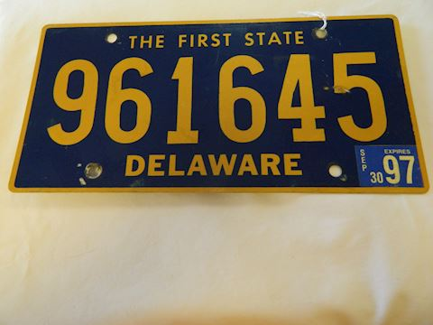 1997 The First State Delaware License Plate