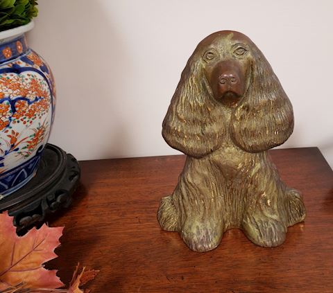 VINTAGE BRASS DOORSTOP DOG DREAM BOY SPANIEL 1948