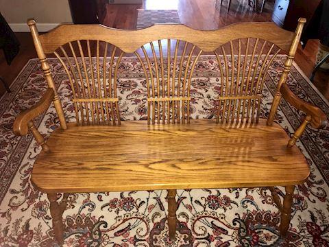 Vintage Oak Bench with Triple Fan Design Spindles