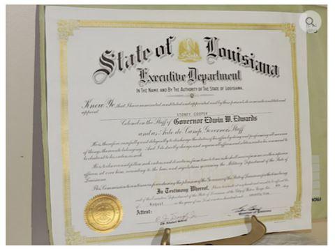 State Louisiana, Gov. Edwin Edwards Signed Colonel