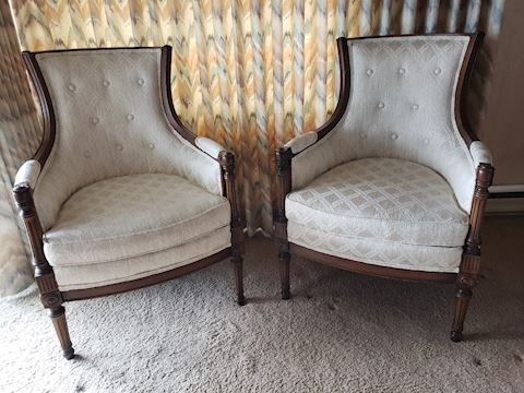 Pair Mid-Century NeoClassical Arm Chairs