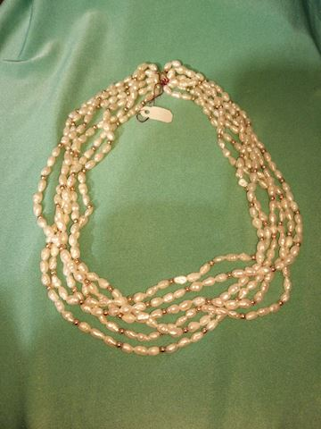 14k bead pear necklace