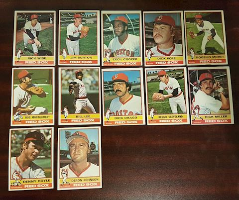 12 Old 1976 Boston Red Sox Baseball Cards