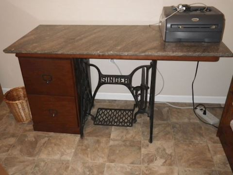 Table with file cabinet