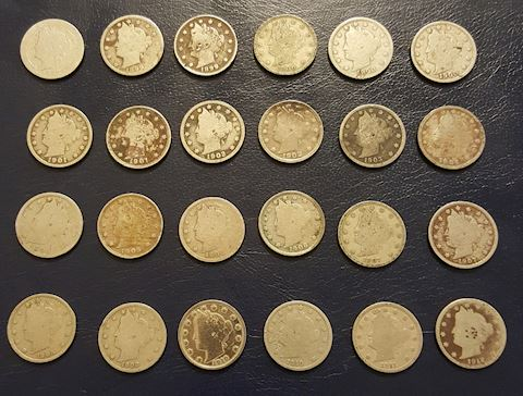 Estate Collection of 24 Liberty V Nickel Coins