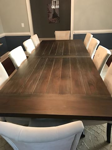 Rustic wood dining table with 10 chairs