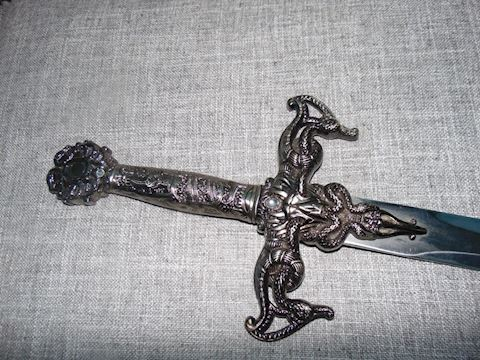 Sterling sword with decorative crystals holster
