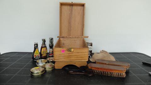 Wood shoe shine box, brushes polish etc Lot # 84