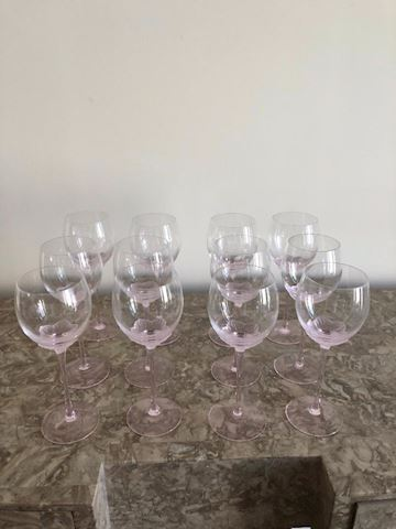 12 Rose Wine Glasses