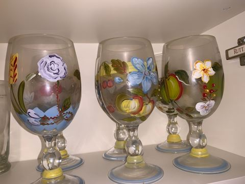 Painted flower glasses