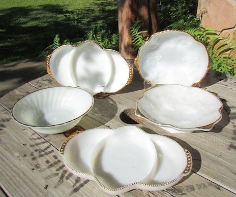 Milk Glass Bowls & Divided Dishes, Lot of 5