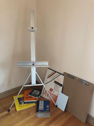 Art Supply lot, paper, Easel, clipboard